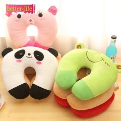 Cartoon plush U-shaped pillow PP cotton siesta office dual-use neck pillow children's pillow purple