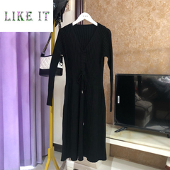 Knitted dress women's v collar long sleeves middle and long style sweaters for autumn and winter black Average code