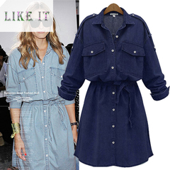Skinny denim dress European and American women's long-sleeved skirt dark blue xl