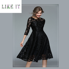 Women's dress with slim, medium and long lace dresses black s