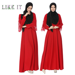 The dress of the Middle East Islamic Muslim lace dress long style dress dress Red (no headscarf) s