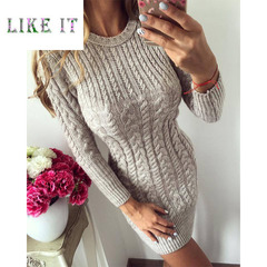 Fashionable knitted sweater round collar and long sleeved dress apricot color s