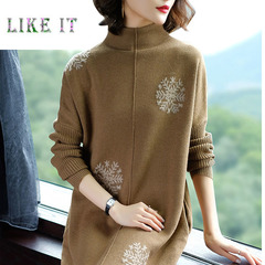 Fashion turtleneck loose knit dress medium and long style thickening and underlaying woolen dress Camel m