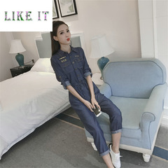 Women's long-sleeved, high-waisted skinny jumpsuits, denim casual jumpsuits blue s