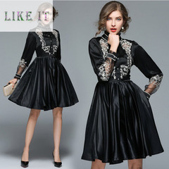 Temperament embroidery fashion long sleeves and pleats long dress black s