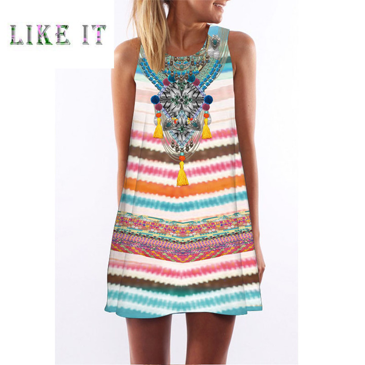 New digital printed round-necked Amazon hot-selling mid-length dress in popular style 2xl Color as figure
