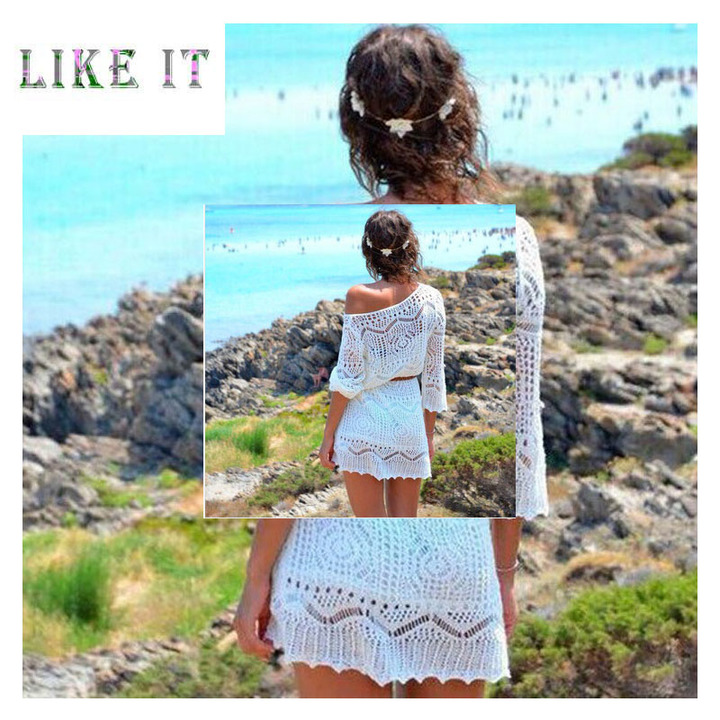 European and American crochet hollowed-out pullover blouse beach lace dress 1xl color as figure