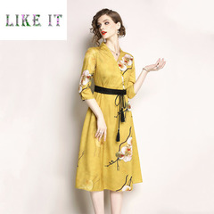 Vintage V-neck seven-sleeved, middle-length, slim printed dress 2xl Yellow