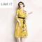 Vintage V-neck seven-sleeved, middle-length, slim printed dress 2xl Yellow