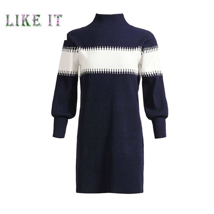 A knitted dress with a round collar average code Purple