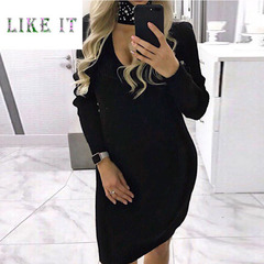A long-sleeved, slimming, hooded knit dress 1xl black