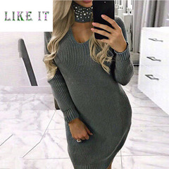 A long-sleeved, slimming, hooded knit dress 1xl Grey