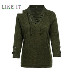 Sexy lace casual sweater lady's jacket Military green 3XL