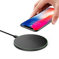 Popular 10W mirror mobile wireless charger for Apple Android 7.5W round wireless charger black general purpose
