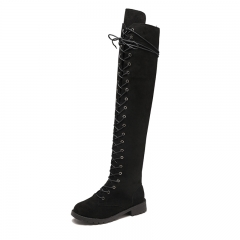 Ladies Shoes Square Low Heel Women Over The Knee Boots Black Pointed Toe Woman Motorcycle Boots #1 40