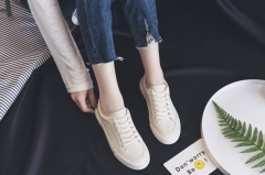 Ursmrat 1 Pairs PU Plus Size 35-40 Comfortable Flat White Shoes Sneakers Shoes Women Footwear creamy-white 35