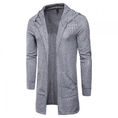 Men's T-Shirt Fashion Solid Color Cardigan Design Hooded Men's Long Sleeve T-Shirt gray m