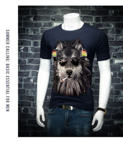 New summer men's 3D T-shirt wolf print pattern 3D short-sleeved t-shirt large size explosion Navy S cotton