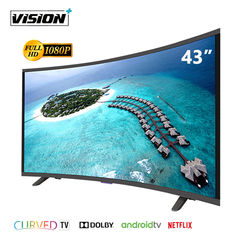 Vision Plus VP8843C 43 Inch FHD Smart CURVED Android TV LED Television & FREE Wall Bracket Black 43''