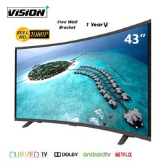 Vision Plus VP8843C 43 Inch FHD Smart tv CURVED Android TV LED Television & FREE Wall Bracket Black 43''