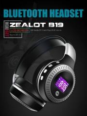 Zealot B19 Wireless Bluetooth Headphone Stereo Bass Earphone With Mic FM Radio TF Play LED Screen blue