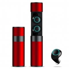 Bluetooth wireless waterproof binaural 5.0 earphones best stereo headphone noise cancelan red