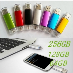 High Quality USB Flash Drive OTG Pen Drive Usb Flash Memory Stick 16GB 32GB 64GB 128GB 256GB U Disk silver normal 16GB normal