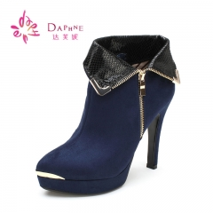 Autumn Winter Hot Sale Navy Blue Suede Boots Women's Shoes Causal Martin Ankle Short Boots navy blue 36