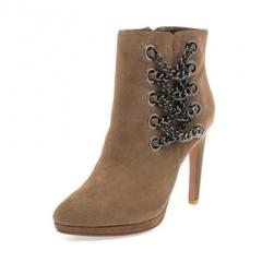 Autumn And Winter Women's Shoes Sheepskin Scrubs Pointed Female High Heel Retro Women Boots brown 36