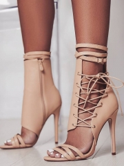 New Large Size High Heel Straps Belt Buckle Cool Boots Roman Fashion Sexy Women's Heels Boots apricot 35