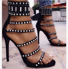 New Women High-heeled Beaded Hollow Boots Roman Fashion Sexy Women's High Heels Shoes black 42