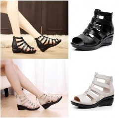 Sandals female summer new high tube straps retro Roman shoes boots cool boots flat shoes size 35~40 black 35