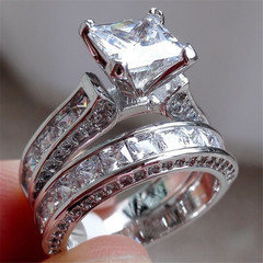Women S 925 Silver White Sapphire Ring Fashion Wedding Engagement Bridal Jewelry 6-10 style1 5#