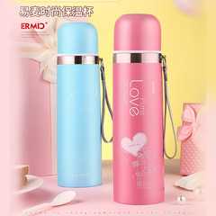 Double-layer Vacuum Stainless Steel Bouncing Cup Insulation Bottle Sports Bottle Car Coffee Cup pink 350ML