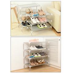 DIY Multi-Storey Shoe Racks Storage Organizer Assembled Layers Stackable Shoe Shelf Organizer 3-layers