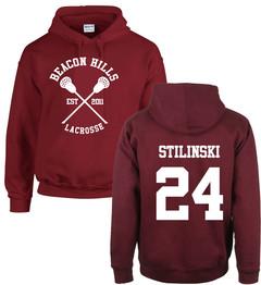 Teen Wolf Hoodie Stilinski 24 Lahey McCall Pullover Maroon Hooded Hip Hop Hoodies Streetwear Unisex 24 S Polyester,Cotton