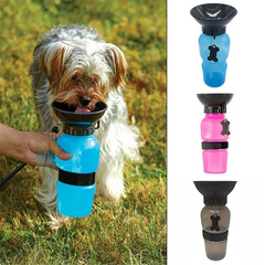 Portable Anti-spill Pet Dog Cat Drinking Water Bottle Outdoor Dogs Feeding Water Feeder Bowl Drinker red 600ml