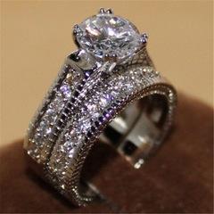 2Pcs/set Brand Jewelry Genuine Natural Gemstone White Sapphire Birthstone Wedding Engagement Ring 2pcs/set 5#