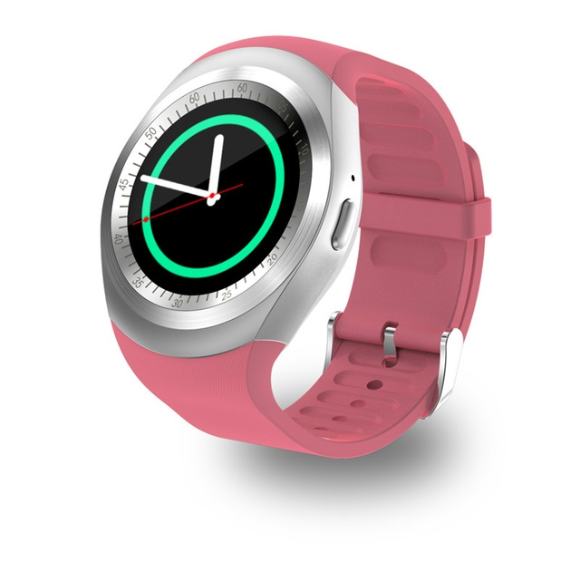 Newest Bluetooth Smart Watch Relogio Android Smartwatch Phone Call Camera SIM Pink Y1