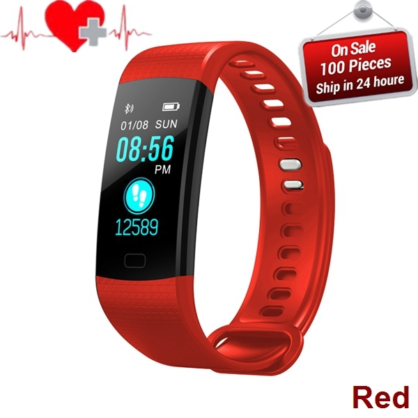Smart Band Color Screen Wristband Heart Rate Activity Fitness tracker Smart Electronics Bracelet red t15