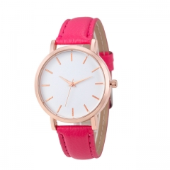 Fashion Unisex Montre Femme Reloj Mujer Leather Stainless Men's Watch Wholesale Quartz Wrist Watches Hot Pink one size
