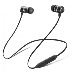 XT-6 Bluetooth Earphone Wireless Headphone Metal Sports Sweat Proof Earpiece Magnetic Headset Stereo black