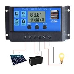 12V/24V 20A Solar Ladegerat Controller Solar Panel Batterie Intelligente Regler mit USB Port Display Black