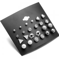 12 square zircon earrings heart-shaped droplets on board set auger geometry stud earrings suit white 0.38-0.97cm
