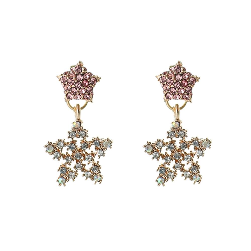 Han edition personality alloy diamond stud earrings pink star earrings female stud earrings,pendants Black star one size 21