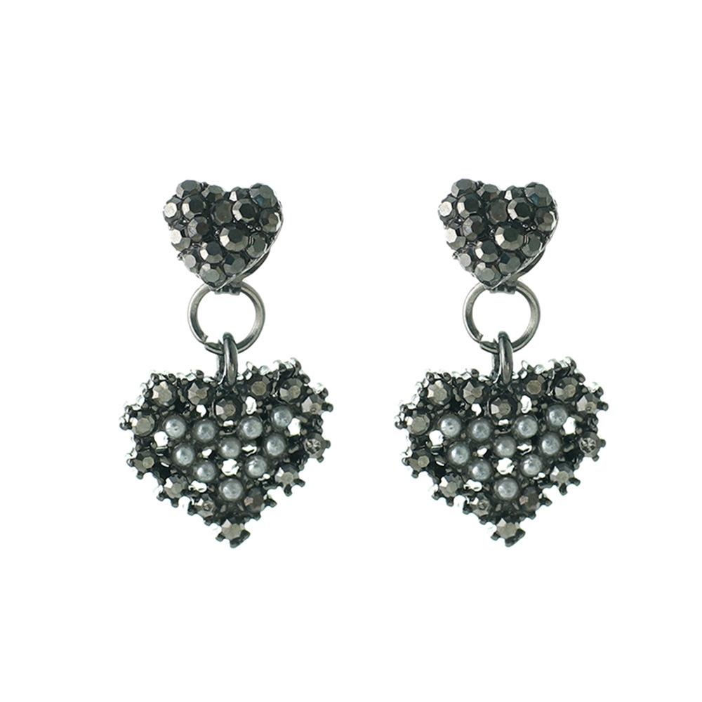 Han edition personality alloy diamond stud earrings pink star earrings female stud earrings,pendants Black star one size 20