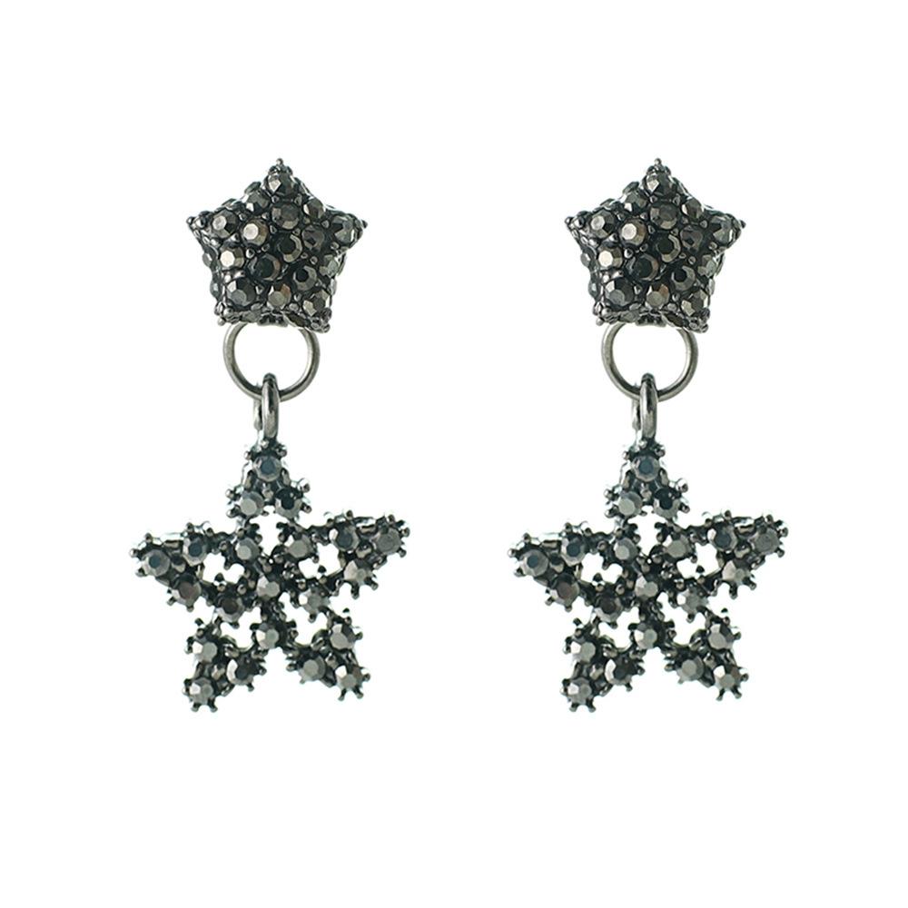 Han edition personality alloy diamond stud earrings pink star earrings female stud earrings,pendants Black star one size 19