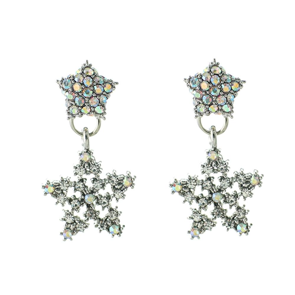 Han edition personality alloy diamond stud earrings pink star earrings female stud earrings,pendants Black star one size 18