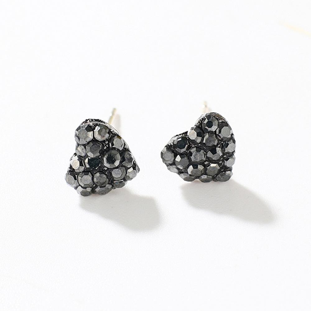 Han edition personality alloy diamond stud earrings pink star earrings female stud earrings,pendants Black star one size 16
