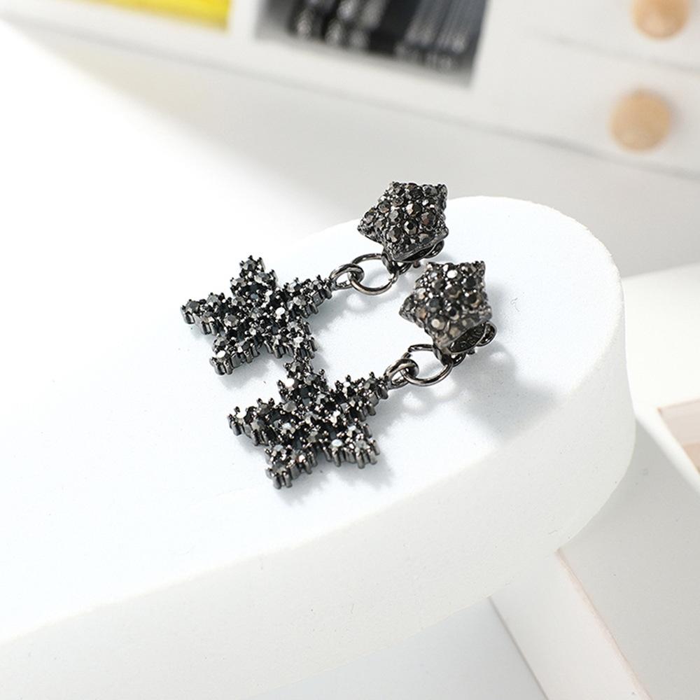 Han edition personality alloy diamond stud earrings pink star earrings female stud earrings,pendants Black star one size 13